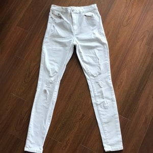 High waisted distressed skinny white jeans size 27